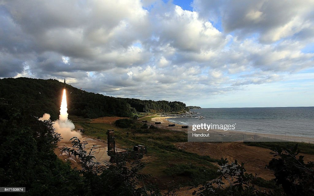 In this handout photo released by the South Korean Defense Ministry, South Korea's missile system firing Hyunmu-2 firing a missile into the East Sea during a drill aimed to counter North Korea's missile fires on September 15, 2017 in East Coast, South Korea. North Korea launched a ballistic missile over Japan just days after the U.N. Security Council adopted new sanctions against the regime over its sixth nuclear test on Sept. 3.