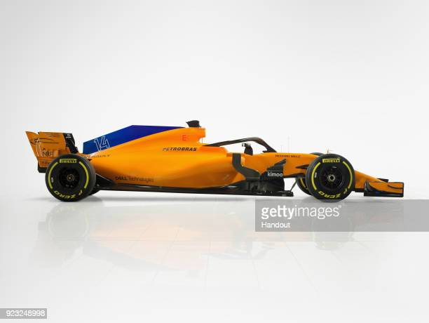 In this handout photo supplied by McLaren the team unveil their new McLaren MCL 33 Formula One car on February 23 2018 in Woking United Kingdom