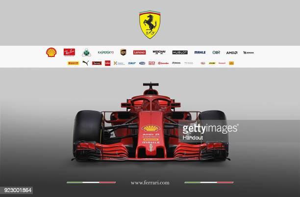 In this handout photo supplied by Scuderia Ferrari F1 the team unveil their new Ferrari SF71H Formula One car on February 22 2018 in Maranello Italy