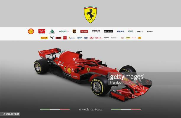 In this handout photo supplied by Scuderia Ferrari F1 the team unveil their new Ferrari SF71H Formula One car on February 22 2018 in Maranello Italy