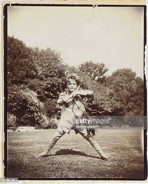 In this handout photo supplied by Sotheby's Lot 290 a photo of Michael aged 6 as Peter Pan taken by Barrie in August 1906 is seen ahead of tomorrow's...