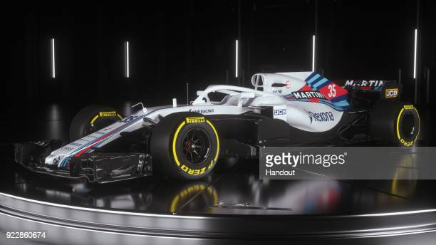 In this handout photo supplied by Williams F1, the team unveil their new Williams FW41 Formula One car on February 15, 2018 in London, United Kingdom.