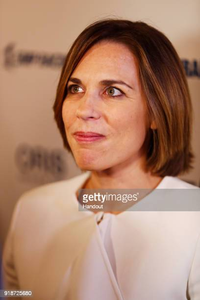In this handout photo supplied by Williams F1 Williams Deputy Team Principal Claire Williams talks to the media after unveiling their new Williams...