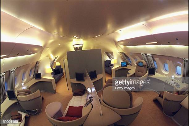 In this handout photo the interior of the world's first fulllength twindeck aircraft the Airbus A380 which will be officially revealed to the world...