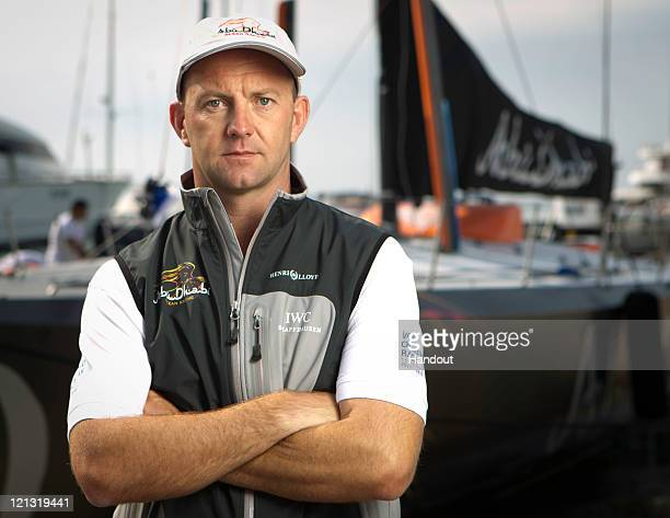 In this handout photograpgh issued by Abu Dhabi Ocean Racing Ian Walker from the UK skipper poses onboard Abu Dhabi Ocean Racing competing in the...