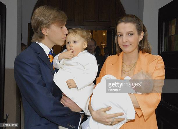 In this handout photograph issued on October 27 Prince Louis of Luxembourg poses with his son Gabriel of Nassau his wife Tessy of Nassau and Prince...