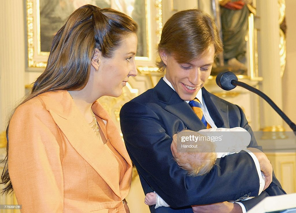 In this handout photograph issued on October 27, Tessy of Nassau and Prince Louis of Luxembourg witness the christening of their son Prince Noah of Nassau in the Gilsdorf Chuch on October 27, 2007 in Luxembourg.