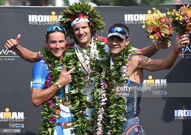In this handout photograph provided by Ironman Mens podium at the 2015 IRONMAN World Championship presented by GoPro on October 10th 2015 in Kailua...