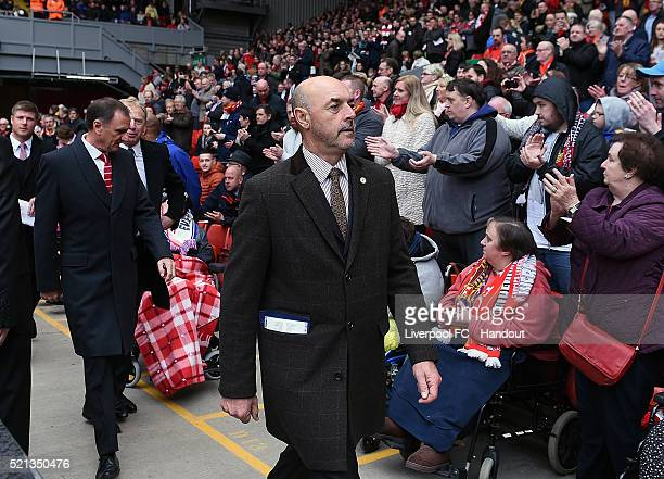 In this handout photograph provided by Liverpool FC Bruce Grobbelaar arrives before the memorial service marking the 25th anniversary of the...