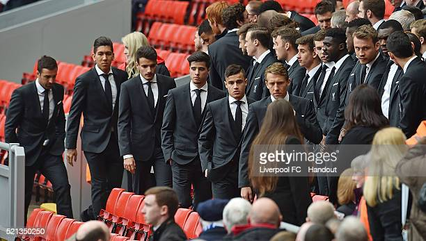 In this handout photograph provided by Liverpool FC Lucas Leiva Philippe Coutinho Joao Teixeira Roberto Firmino and Jose Enrique of Liverpool arrive...