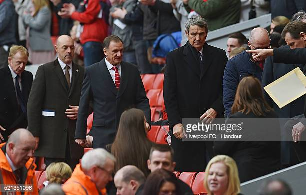 In this handout photograph provided by Liverpool FC Phil Thompson and Alan Hansen during the memorial service marking the 25th anniversary of the...
