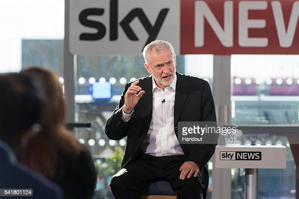 In this handout photograph provided by Sky News Labour leader Jeremy Corbyn speaks during a live TV debate on June 20 2016 in London England This is...