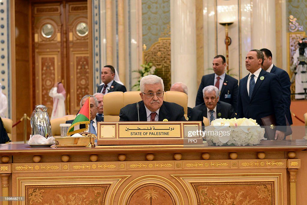 In this handout photograph provided by the Palestinian Press Office (PPO), Palestinian President Mahmoud Abbas attends the Third Arab Economic, Social and Developmental Summit on January 21, 2013 in Riyadh, Saudi Arabia. Riyadhi is hosting the two-day summit aimed at improving trade, development and economic cooperation in Arab countries.