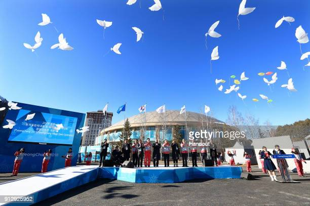 In this handout photograph provided by The PyeongChang Organizing Committee for the Olympic and Paralympic Winter Games A general view during the...