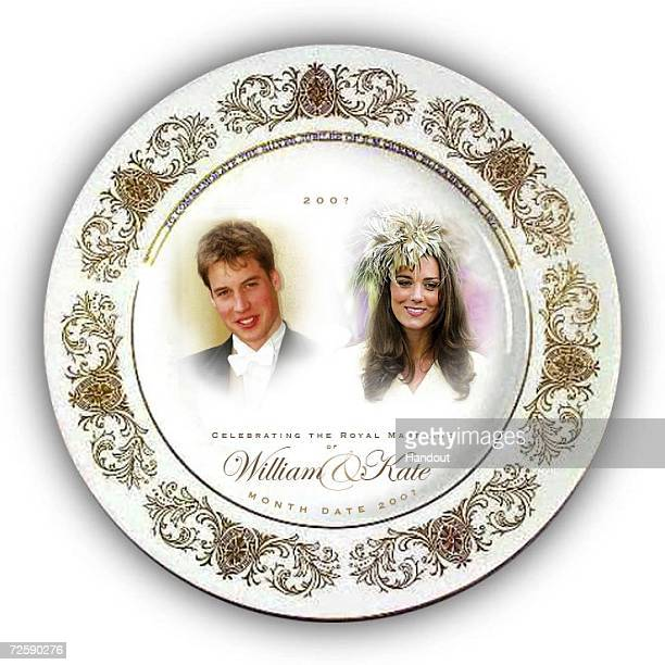 In this handout photograph provided by Woolworths a souvenir plate is seen to mark the anticipated engagement of Prince William and his girlfriend...
