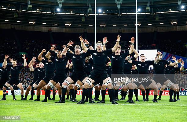 In this handout photograph provided by World Rugby via Getty Images the All Blacks perform the Haka during the 2015 Rugby World Cup Pool C match...