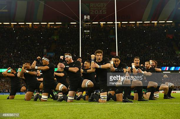In this handout photograph provided by World Rugby The New Zealand All Blacks perform The Haka during the 2015 Rugby World Cup Quarter Final match...
