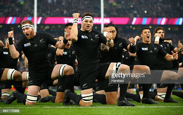 In this handout photograph provided by World Rugby The New Zealand All Blacks perfrom the Haka during the 2015 Rugby World Cup Semi Final match...