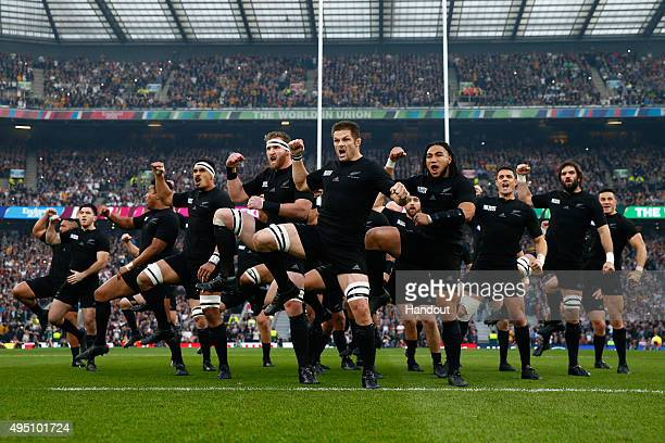 In this handout photograph provided by World Rugby The New Zealand All Blacks perform The Haka during the 2015 Rugby World Cup Final match between...