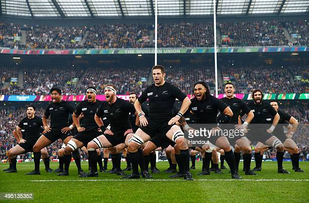 In this handout photograph provided by World Rugby via Getty Images The New Zealand All Blacks perform The Haka during the 2015 Rugby World Cup Final...