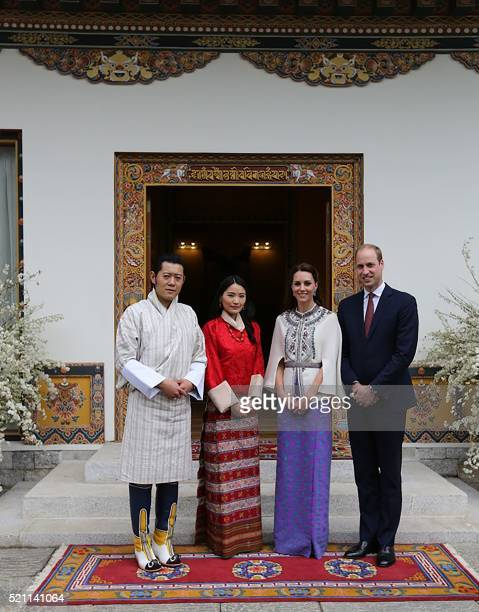 In this handout photograph released by the Royal Office for Media Bhutan on April 14 Britain's Prince William Duke of Cambridge and his wife...