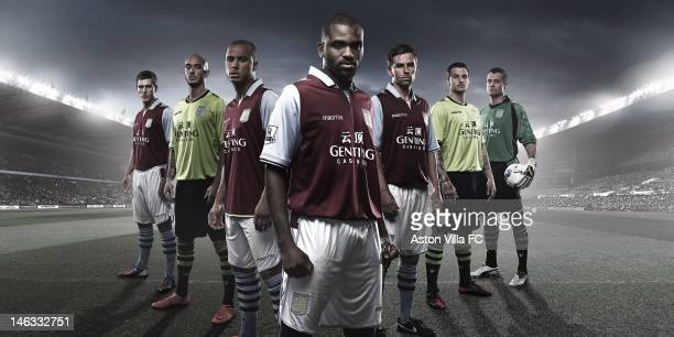 In this handout photographic illustration provided by Aston Villa Aston Villa are proud to officially unveil their new 201213 home and away kits...