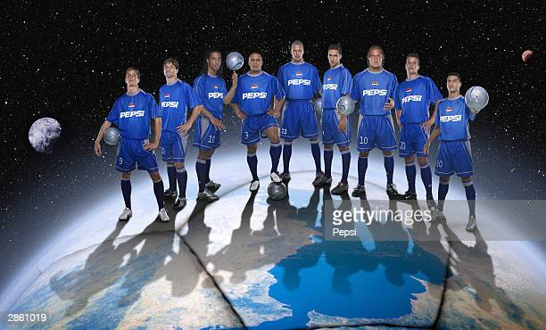 In this handout photomontage provided by Pepsi Fernando Torres Diego de Cunha Ronaldinho Roberto Carlos David Beckham Raul Gonzalez Francesco Totti...