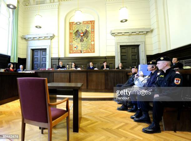 In this handout picture a general view of the court room at the beginning of the trial of Josef fritzl is seen at the country court of St Poelten on...