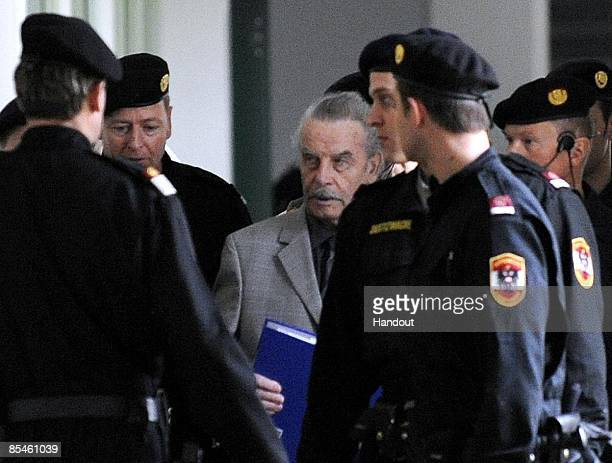In this handout picture Josef Fritzl is seen during a break on the second day of his trial at the country court of St Poelten on March 17 2009 in St...