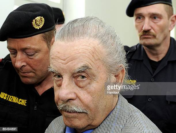 In this handout picture Josef Fritzl is seen during day four of his trial at the country court of St Poelten on March 19 2009 in St Poelten Austria...