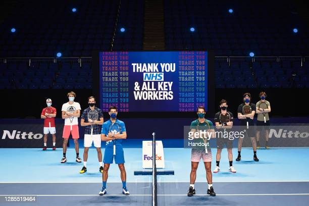 In this handout picture provided by ATP 2020 Nitto ATP Finals singles qualifiers from left to right: Diego Schwartzman of Argentina, Alexander Zverev...