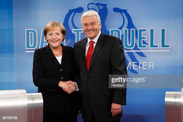 In this handout picture provided by German television channel ARD German Vice Chancellor Foreign Minister and lead candidate of the German Social...