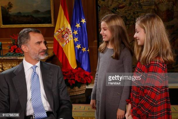 In this handout picture provided by the Spanish Royal House King Felipe of Spain Princess Sofia and Princess Sofia are seen before the video...
