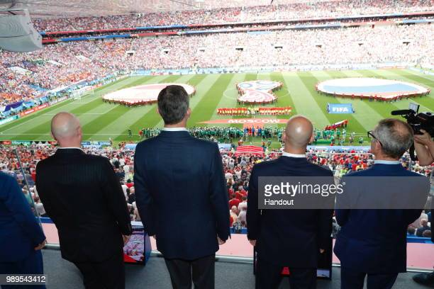 In this handout picture provided by the Spanish Royal House King Felipe of Spain attends the 2018 FIFA World Cup Russia Round of 16 match between...