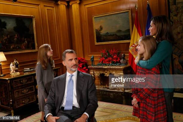 In this handout picture provided by the Spanish Royal House, Princess Sofia, King Felipe of Spain, Princess Leonor and Queen Letizia of Spain are...