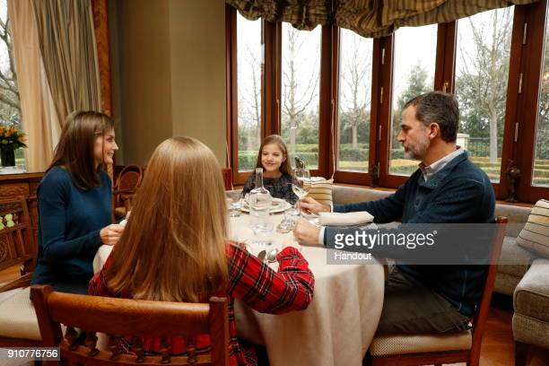 In this handout picture provided by the Spanish Royal House Princess Leonor Queen Letizia of Spain Princess Leonor and King Felipe of Spain are seen...