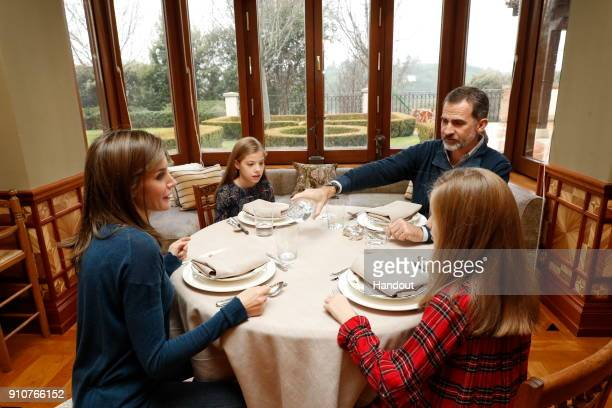 In this handout picture provided by the Spanish Royal House Queen Letizia of Spain Princess Leonor King Felipe of Spain and Princess Leonor are seen...