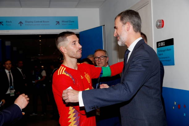 Kind felipe of spain attends spain vs russia worlcup match photos in this handout picture provided by the spanish royal house sergio ramos and king felipe m4hsunfo