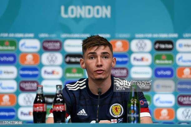 In this handout picture provided by UEFA, Billy Gilmour of Scotland speaks to the media during the Scotland Press Conference after UEFA Euro 2020...