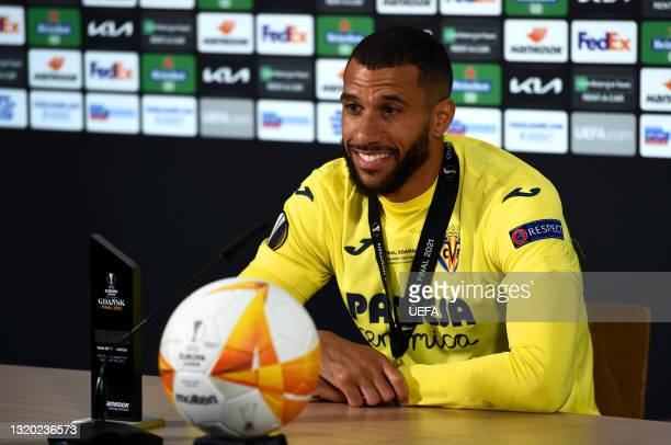 In this Handout picture provided by UEFA, Etienne Capoue of Villarreal CF speaks during a Press Conference after the UEFA Europa League Final between...