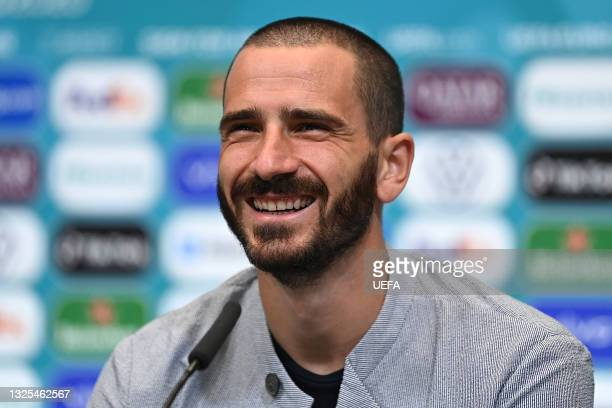 In this handout picture provided by UEFA, Leonardo Bonucci of Italy speaks to media during the Italy Press Conference ahead of the UEFA Euro 2020...
