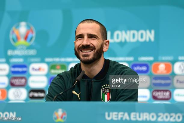 In this handout picture provided by UEFA Leonardo Bonucci of Italy talks to the media during the Italy Press Conference ahead of the Euro 2020...