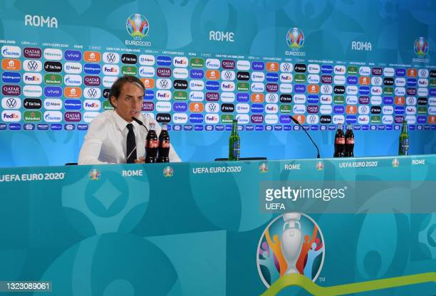 In this Handout picture provided by UEFA Roberto Mancini, Head Coach of Italy speaks to the media during a Press Conference after the UEFA Euro 2020...