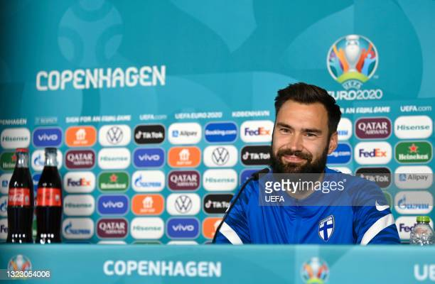 In this Handout picture provided by UEFA, Tim Sparv of Finland reacts during the Finland Press Conference ahead of the UEFA Euro 2020 Championship...