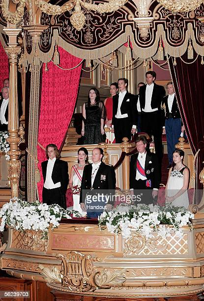In this handout picture released by Centre de Presse of Monaco Andrea Casiraghi Princess Caroline of Hanover Prince Albert II of Monaco Prince Ernst...