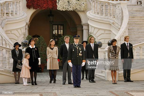 In this handout picture released by Centre de Presse of Monaco Baroness ElisabethAnne de Massy Princess Alexandra of Hanover Princess Caroline of...