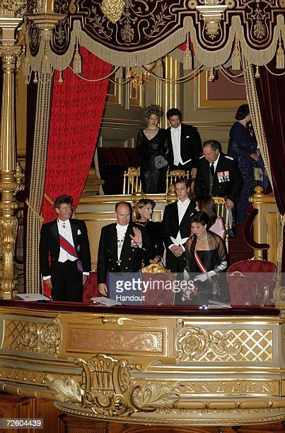 In this handout picture released by Centre de Presse of Monaco Prince Ernst of Hanover Prince Albert II of Monaco Princess Caroline of Hanover...