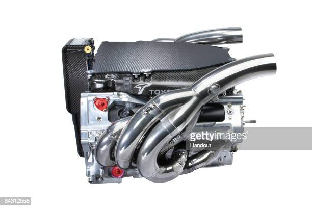 In this handout picture the engine of the new TF109 is seen during the Panasonic Toyota Formula One Grand Prix team launch of the TF109 race car for...