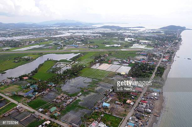 In this handout porvided by the US Navy standing water is visible after the wake of Typhoon Fengshen June 26 2008 in Roxas Philippines The northern...