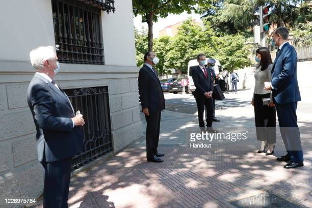 In this handout provide by Casa de SM el Rey Spanish Royal Household The board members of the Elcano Royal Institue receive King Felipe of Spain and...